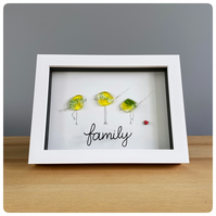 Family of Three picture featuring handmade fused glass birds in yellow & green