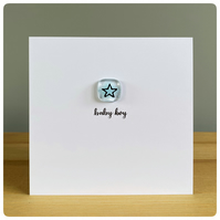 Baby boy new baby card with fused glass tile in light blue with a star