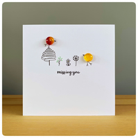 Missing you card with fused glass birds in red and yellow with hand drawn trees