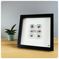Love picture with hand lettered fused glass tiles in silver grey, pink & purple