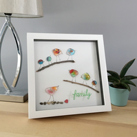 Family tree picture with handmade fused glass birds customised to your family