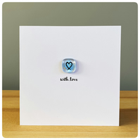 With Love card with fused glass tile in true blue with painted heart