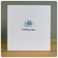 Handmade Birthday card with fused glass tile in true blue with painted heart and