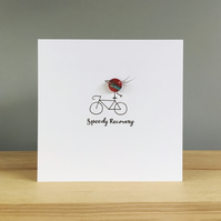 Speedy Recovery greeting card with fused glass bird and hand drawn bicycle
