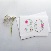 30th Birthday Card, Originally Hand Painted Floral Watercolour