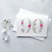 90th Birthday Card, Originally Hand Painted Floral Watercolour