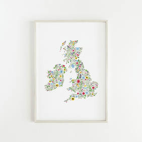 Floral Map of The British Isles, Originally Hand Painted Watercolour Print
