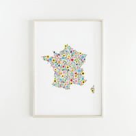 Floral Map of France, Originally Hand Painted Watercolour Print