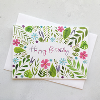 Happy Birthday Card, Originally Hand Painted Watercolour Card