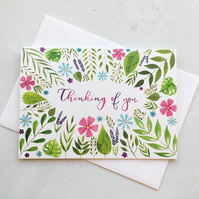 Thinking Of You Card, Originally Hand Painted Floral Watercolour Card