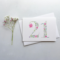 21st Birthday Card, Originally Hand Painted Floral Watercolour