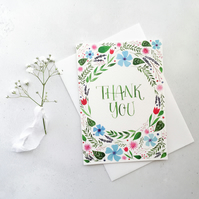 Thank You Card, Floral Watercolour Card