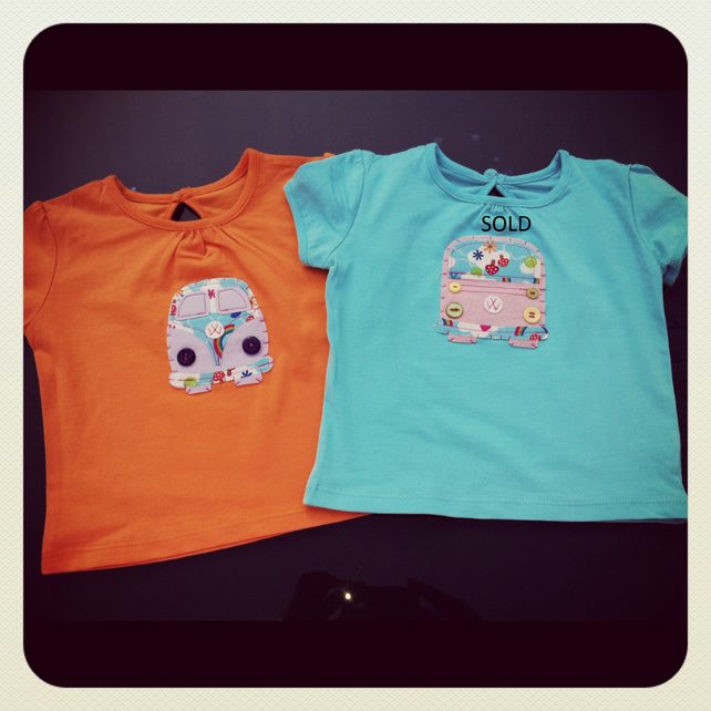 Super Cute Camper Appliqued Tops 12 - 18 months