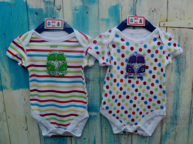 VW Splitscreen Camper Appliqued Babygrows 3 - 6 months