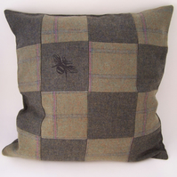 Printed Tweed Patchwork Cushion