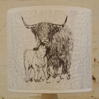 Medium Highland Cow Felt Lampshade