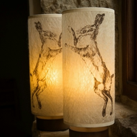 Slim Boxing Hares Felt Lampshade Pair