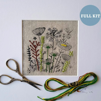 Wild Flower Irish Linen Stamped Embroidery Kit.