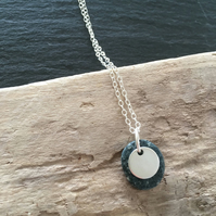Silver Pebble and Disc Necklace