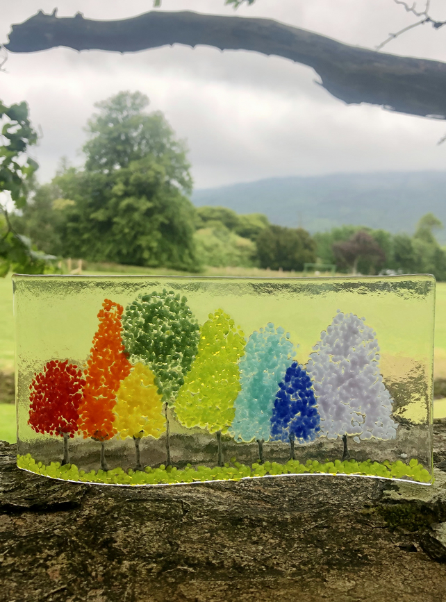 Rainbow Trees Glass Wave by Jules King