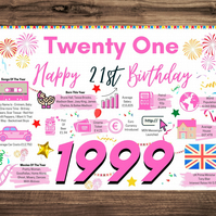 21st Birthday Card For Her Girlfriend Daughter Sister Girl, H