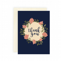 Thank You greeting card, Floral greeting card, rose wreath, thank you card, 5 x