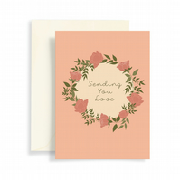 Sending love greeting card, Floral greeting card, rose wreath, someone special c