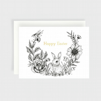 Happy Easter card, floral card, Easter greeting card, celebration, A6 card, flor