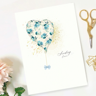 Floral balloon greeting card, Floral greeting card, someone special greeting car