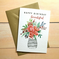 Watercolour flowers card A6 Happy birthday beautiful Birthday Card Greeting Card