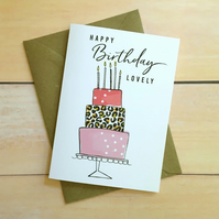 Cake card Happy birthday lovely leopard print Punny card Greeting card Funny car