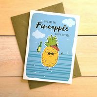 Pineapple card You are one fineapple Punny Card Greetings Card Funny Card Blank