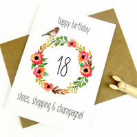 18th Birthday Card For Her, Shoe Lover, Floral Print, Birthday Card