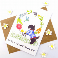 Dog Print Greeting Card, Wonderful day, Just Because, Dog Lover Card, Blank