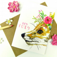 Blank Fox Print Greeting Card
