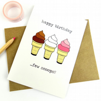 Birthday Card, Cute Funny Ice Cream Print Greeting Card