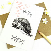 Hedgehog Greeting Card, Blank, Cute Hedgehog Print Stationary