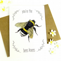 Bee Print Card, Cute Funny Blank Bee Art Greetings Card