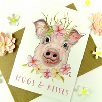Pig Greeting Card, Cute Funny Pig Art Card