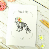 Fox Print Birthday Card, Cute Funny Foxy Birthday Card