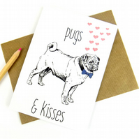 Pug Card, Pug Gifts, Cute Funny Pug Print Greeting Card