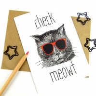 Cat Greeting Card, Funny Cat Print Stationary