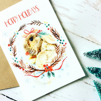 Bunny rabbit Print Christmas Card, Cute, Funny, Bunny Art Print Greeting Card