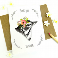 Thank You Card, Bird Print Thank You Gift