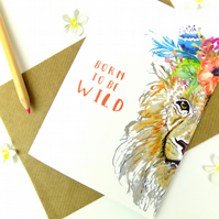 Lion Print Card, Beautiful Watercolour Boho Floral Lion Blank Greeting Card