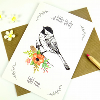 Bird Print Card, Just Because Card, Floral Print, Blank Greeting Card