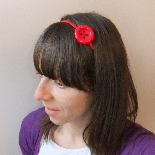 Red button headband