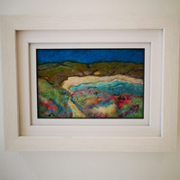Needle felted framed picture of coastal path by the sea, Handmade, fibre art