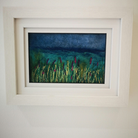 Needle felted and embroidered framed picture of flowers at waterside, handmade,