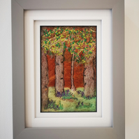 Fiber Art, needle felted with free motion and hand embroidery, Framed Picture